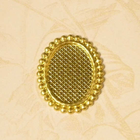 Brass 18 x 13 Cameo Setting Jewelry Findings 184 - 6 Pieces