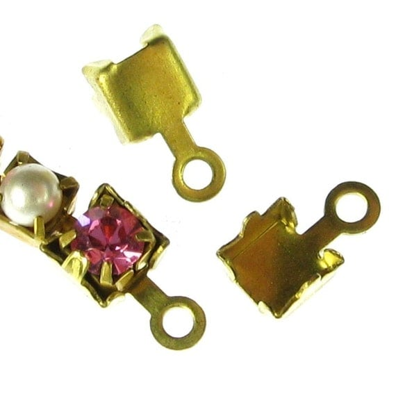 Brass Rhinestone Chain attachment Connector with Ring 882 - 12 Pcs