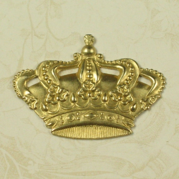 Brass Crown Metal Stamping Jewelry Findings 496 - 6 Pieces