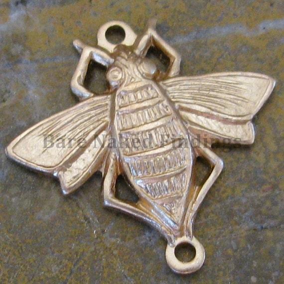 Brass Bee Connectors Bug Jewelry Connectors 2 Ring Connectors 820 - 12 Pcs