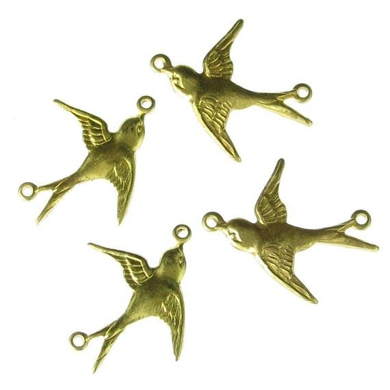 6 Raw Brass 2 Ring Flying Bird Jewelry Finding 503