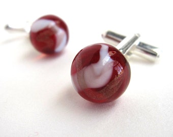 Red, White and Gold Lampwork Glass Planet Cufflinks