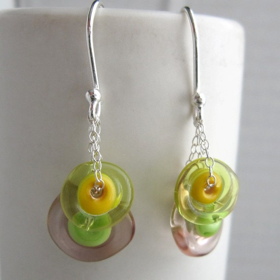 Green, Yellow and Purple Amoeba Earrings