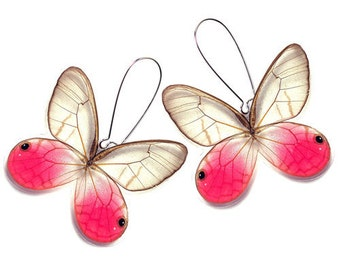 Real Butterfly Wing Earrings (Whole Pink Glasswing Cithaerias Merolina Real Butterfly  - WE003)