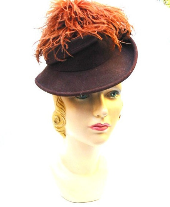 Hat 1940s 40s Brown Fedora Top Hat Old Hollywood Glamour Vintage Hat BONWIT TELLER LAYAWAY Available