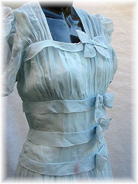 1930 Blue Dress 30s Party Dress Chiffon Gown 1930's 30's