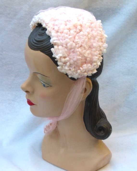 Pink Hat 1950s 1960s 50s 60s Flowers w/Tulle Ties LAYAWAY Available