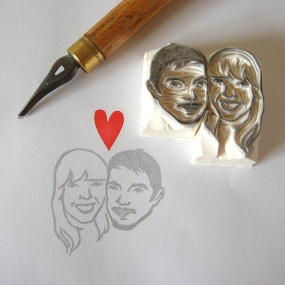 Custom \/ double face \/ handcarved rubber stamp