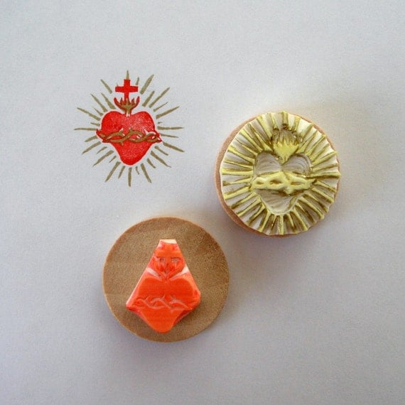 Sacred heart / two colors / handcarved rubber stamp