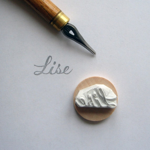 Custom / name / handcarved rubber stamp