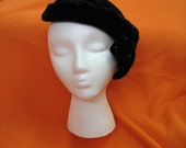 Black velour with rhinestones vintage hat