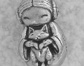 Green Girl Studios Kokeshi Doll with Cat Pewter Bead