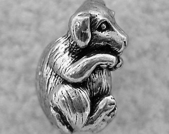 Green Girl Studios Hugging Puppy Pewter Bead
