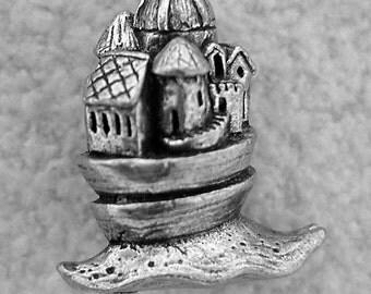 Green Girl Studios Snail Castle Pewter Pendant