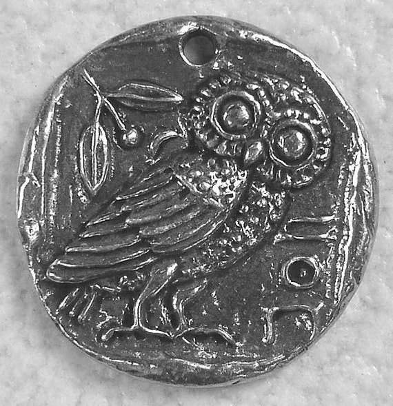 Green Girl Studios Pewter Owl Coin Pendant