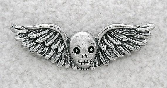 Green Girl Studios Pewter Winged Skull Pendant