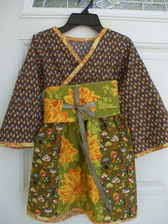 Owl and Toadstool Obi Belt dress - size 6