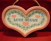 LOVE GROWS - Heart Shape Cross Stitch Wall Plaque
