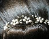 wireandice hair vine platinum swarovski pearls bridal hair accessories