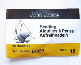 Size 12 Beading Needles, 25 pack, John James (BN12)