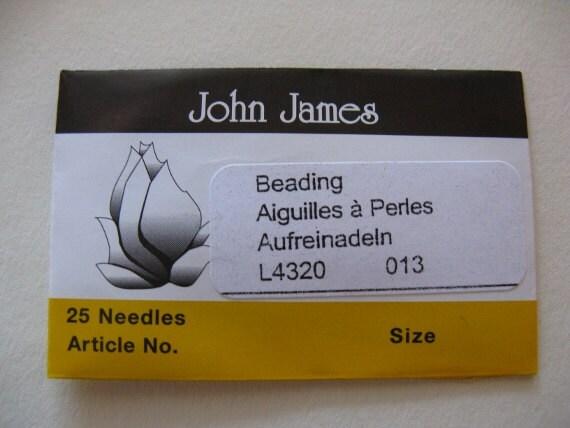 Size 13 Beading Needles John James 25 pack (BN13)
