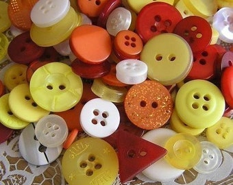ON SALE - 100 Sunshine and Lollipops Small to Medium sized Button Mix Red Yellow Orange Buttons