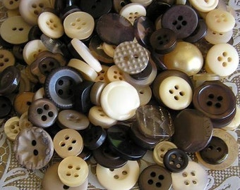 100 Root Beer Float Small to Medium sized Button Mix Buttons Dark Brown Tan Cream