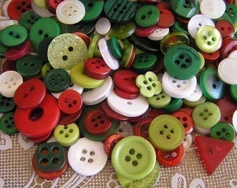 ON SALE - 100 Holly Jolly Christmas Small to Medium sized Button Mix Red Green White Buttons