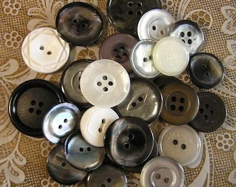 ON SALE - 25 A Formal Affair Medium to Large sized Button Mix Buttons Black White Grey Pearl