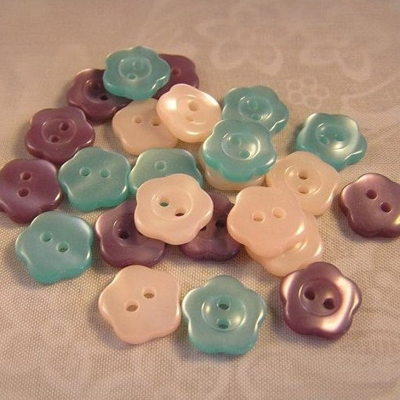 24 Frosty Nose 1/2 inch Shiny Flower Buttons SO CUTE Aqua Plum and Blush