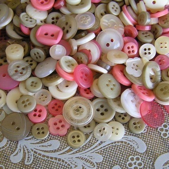 100 Antique Lace Small to Medium sized Button Mix Pink Beige Cream