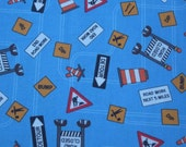 One Yard of Diggers and Dozers Blue Cotton Quilting Fabric
