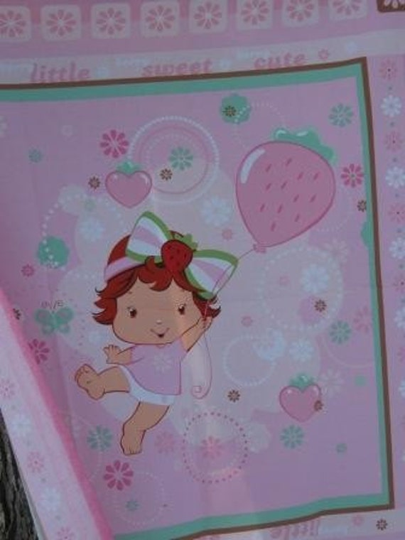 SALE Strawberry Shortcake Baby Quilt Panel Fabric