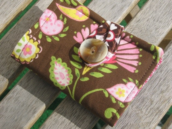 Tea Bag Wallet or Holder in Pink and Brown Paisley and Geometric Prints