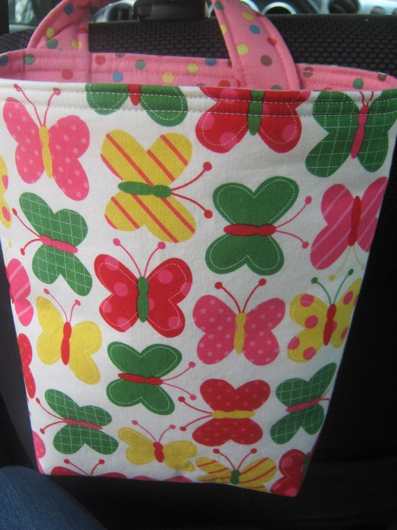 Car Trash or Litter Bag Reusable in Bright Spring Butterflies and Dots