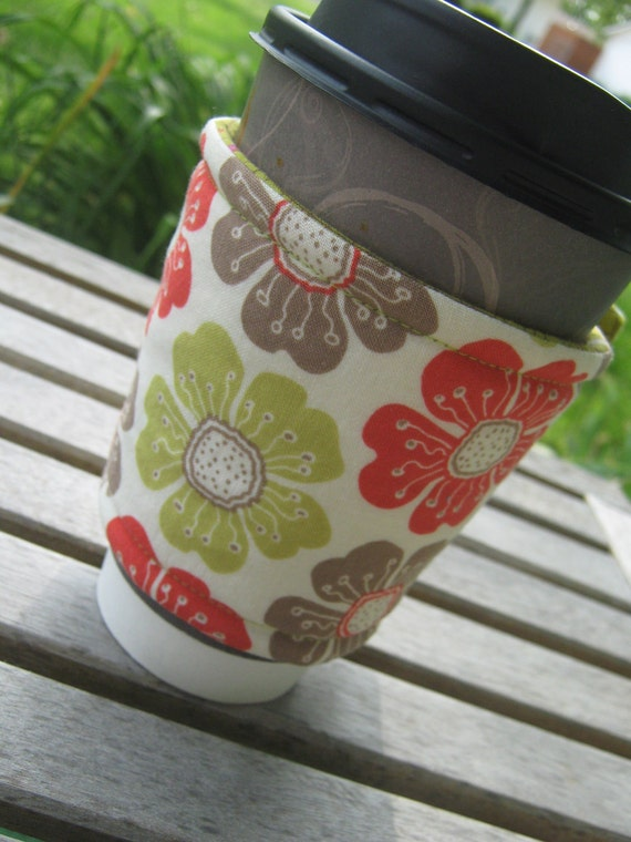 Handmade Cup or Coffee Cozy or Sleeve in Green and Orange Flowers and Crosshatch