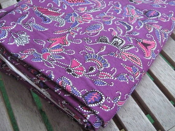DESTASH Approx. 4 Yards Purple Mosaic Paisley Poplin Fabric from David Textiles