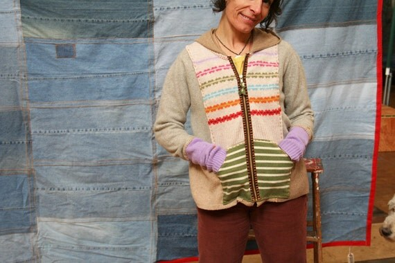 Lady's M-Rainbow Cashmere Zipper Cardigan
