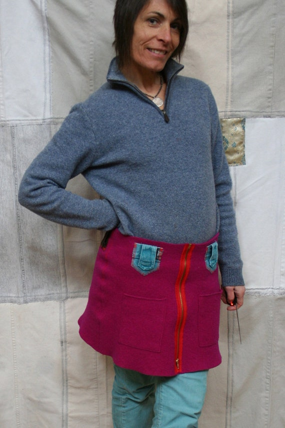 Recycled Wool Zippered Skirt/Kilt - Rich Raspberry with Built In Pockets and Beltloops