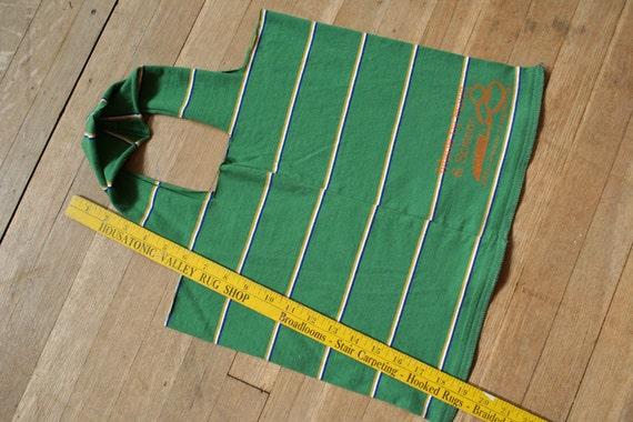 Recycled T-Shirt Bag - Green Striped Bag