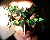 Tatter Rook - Papier-Mache Raven Mask in Black and Green Scrap Fabric