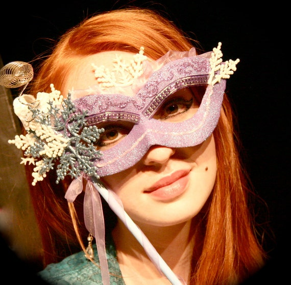 CLEARANCE SALE - Snowflake - Papier-Mache Mask in Lilac, Ice Blue, and Iridescent White