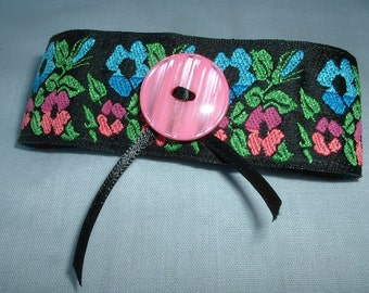 Ankle Band/Cuff - Vintage Textile Jewelry - Handmade, Black w/Pink, Blue, Green Floral