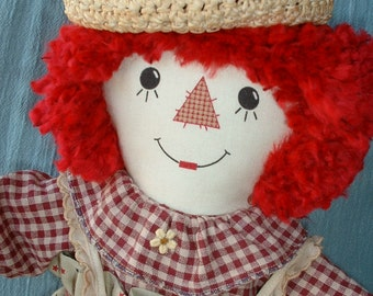 "Handmade Collectible 18"" Country Rag Doll, Not a Toy, OOAK, Clearance SALE"