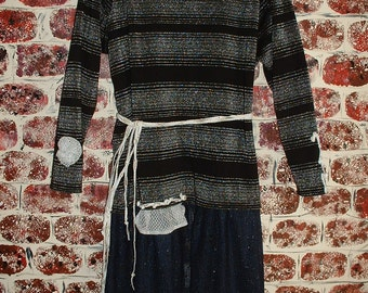 "Sweater Dress Black & Silver Upcycled Reconstructed Eco-Friendly ""Pretty in Plus"""