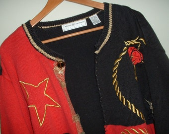 """Vintage Sweater Upcycled Eco-Friendly Repurposed Oversized 22/24 Red, Black & Gold from """"Pretty in Plus"""""""