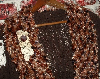"""Sweater, Shrug, Brown Knit, Vintage Doilies & Buttons, Upcycled, Recycled, Eco-Friendly by """"Pretty in Plus"""""""