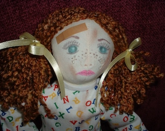 "Handmade Cloth Doll w/Teddy Bear - ""Uh Oh---Boo Boo"""