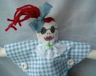 """Coupon Code, Cloth Doll, Angel w/Sunglasses, a 10"""" OOAK """"Scrappy"""" Angel"""