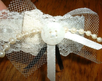 Ankle Cuff or Wrist Band Vintage Lace & Faux Pearls - Wedding/Prom Accessory